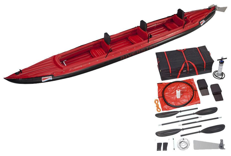 Kayak sit-on-top / gonflable / de randonnée / 3 places - RIVERSTAR ...