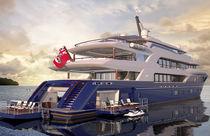 Mega-yacht de croisière / avec timonerie / avec piscine / avec héliport