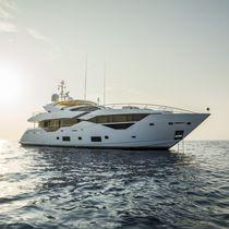 Super-yacht de sport / à fly / raised pilothouse / coque à déplacement