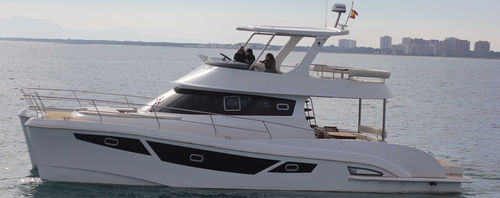 vedette catamaran / in-bord / diesel / à fly