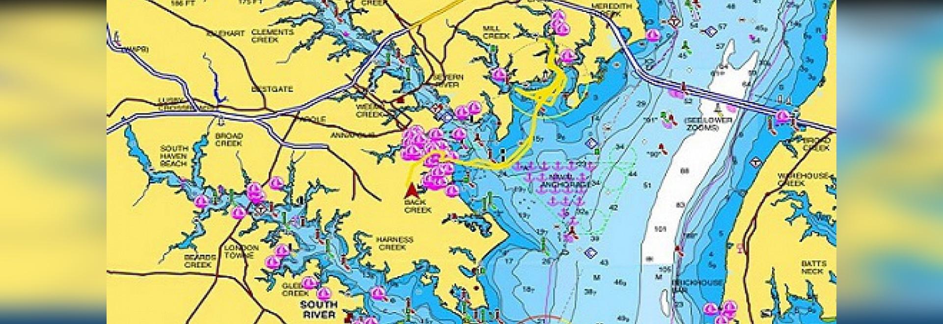 Une copie d'écran de l'appli de Navionics (courtoisie de Boats.com)