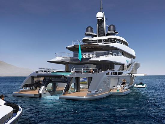 Les yachts de turquoise indique le concept de superyacht de 77m : Quantum