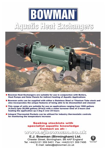 Aquatic heat exchangers