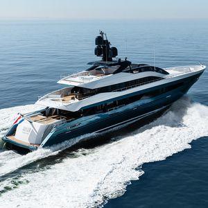 mega-yacht de croisière / avec timonerie / en aluminium / coque semi-planante