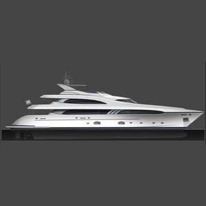 mega-yacht de croisière / raised pilothouse / 5 cabines