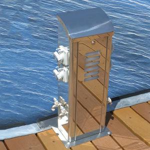 borne d'éclairage / de distribution électrique / de distribution d'eau / pour ponton