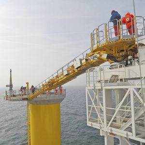 passerelle pour navire de service offshore / télescopique / avec compensation de mouvement / hydraulique