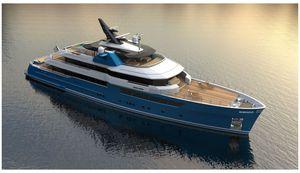 méga-yacht de luxe de croisière / avec timonerie / en composite / coque à déplacement