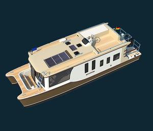 bateau maison catamaran / hors-bord / à fly / trawler