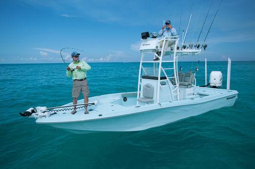 bay boat hors-bord / à console centrale / à fly / de pêche sportive