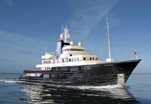 méga-yacht de luxe pour expédition / raised pilothouse / en aluminium / coque à déplacement