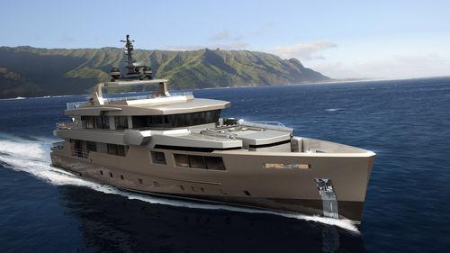 super-yacht de croisière / à fly / en aluminium / coque semi-planante