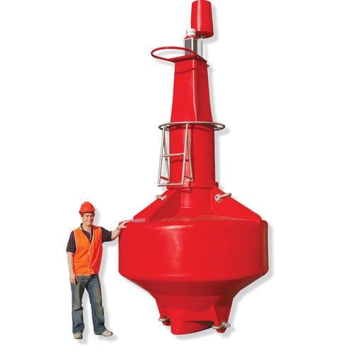 bouée de balisage / en haute mer / avec feu de signalisation / en polyéthylène