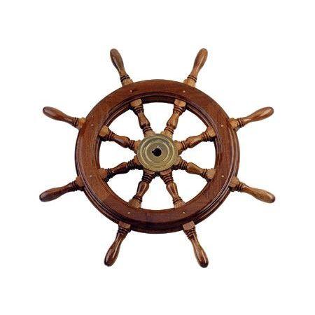 volant en inox pour bateau à moteur / en acajou / traditionnel