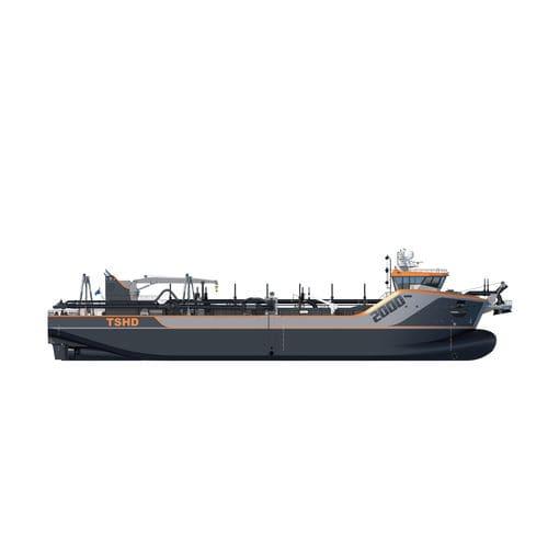 navire spécial drague suceuse porteuse à élinde traînante