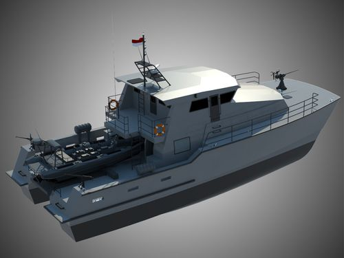 bateau de surveillance / catamaran / in-bord