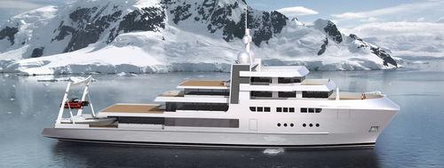 mega-yacht de croisière / explorer / raised pilothouse / en acier