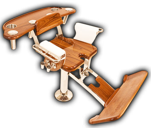 chaise de combat en teck / pour bateau / avec accoudoirs