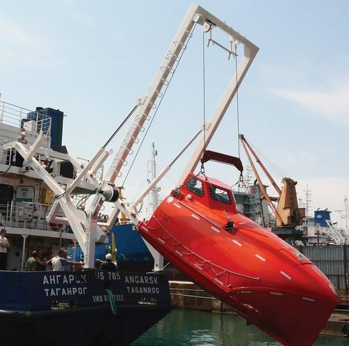 bossoir pour canot de sauvetage à chute libre