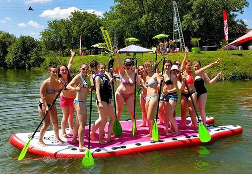 Stand Up Paddle Gonflable Sup Mega 17 Tiki Factory Allround Pour 6 à 8 Personnes En Pvc