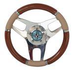 volant en bois pour bateau à moteur / habillage cuir / sport / traditionnel