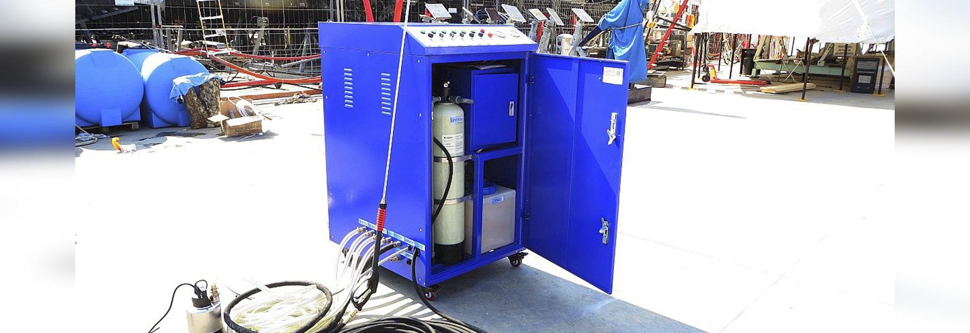 Première rondelle à haute pression du monde avec l'installation de traitement de l'eau incorporée.