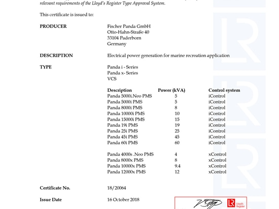 Panda de Fischer certifié avec l'homologation du registre de Lloyd