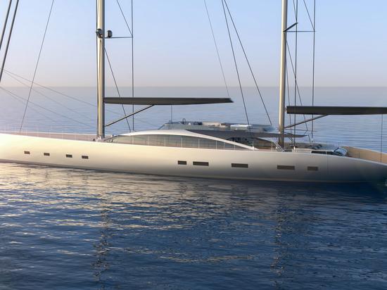 Dixon Yacht Design crée un concept de yacht à voile hybride de 55 mètres : Projet 175
