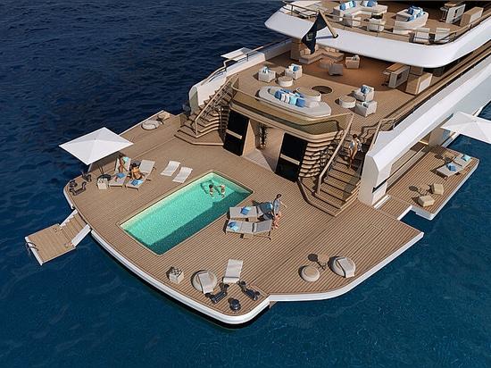 Les nouveaux modèles de yachts Nauta sont dotés d'un club de plage agrandissable