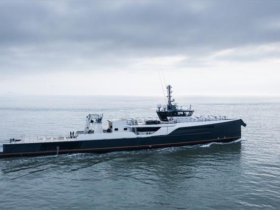 Le Damen Yachting YS 5009 Blue Ocean transformé en navire de soutien de Gene Machine