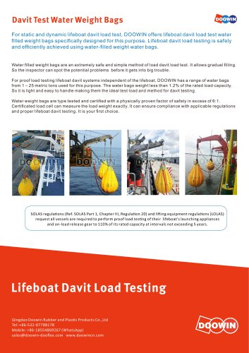 Lifeboat Davit Load Test Water Bags