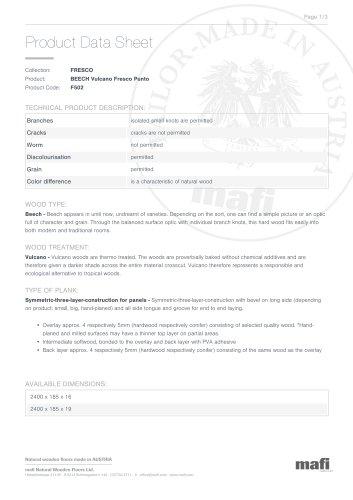 BEECH VULCANO FRESCO PUNTO Product Data Sheet