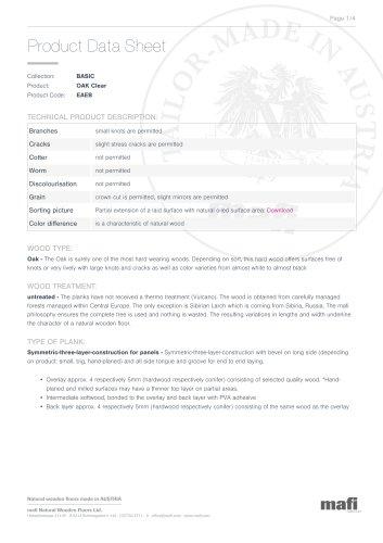 OAK CLEAR - Product Data Sheet