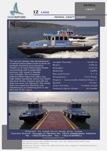IZ1400 HDPE PATROL BOAT