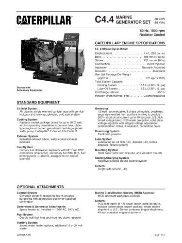 Cat C4-4 Radiator Cooled Spec Sheets