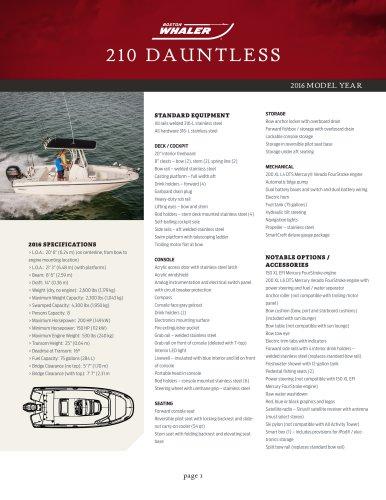 210 DAUNTLESS Specifications 2016
