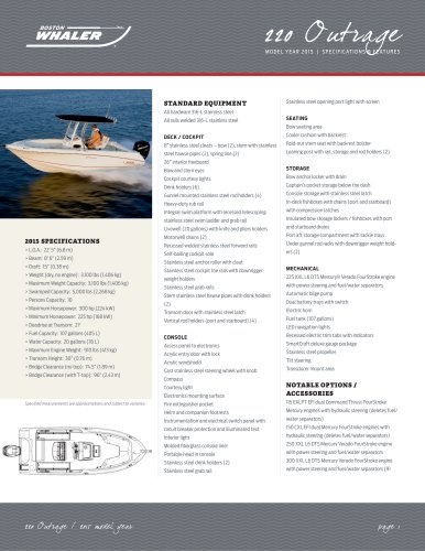 220 Outrage Specifications - 2015