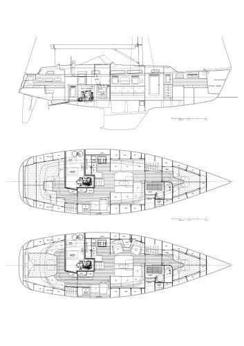 Hallberg-Rassy 40 Interior drawings