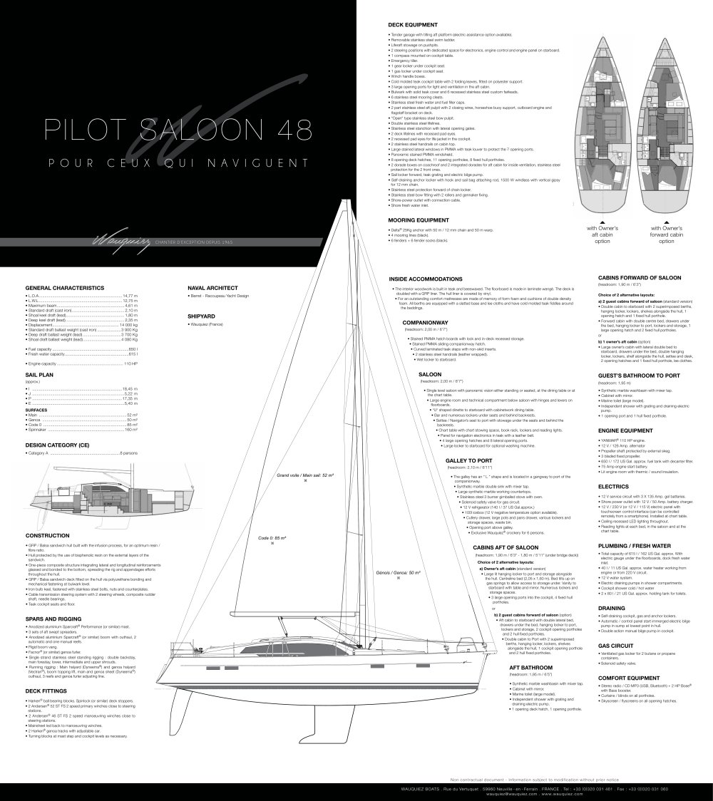 Pilot Saloon 48 Spcifications Wauquiez Catalogue Pdf Sailboat Mast Wiring Diagram 1 2 Pages