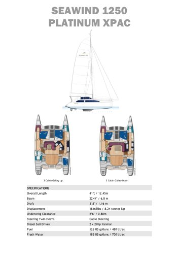 Seawind 1250 Platinum XPAC Standard Specifications