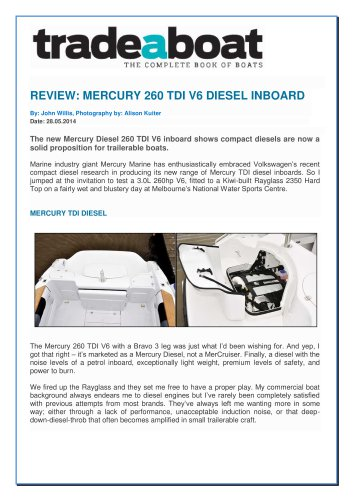 MERCURY 260 TDI V6 DIESEL INBOARD