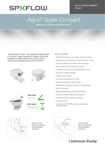 Marine Lavatory Systems - AquaT Super Compact Marine Toilet