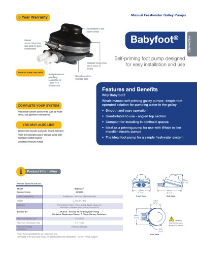 Whale Babyfoot Galley Pump (foot operated)