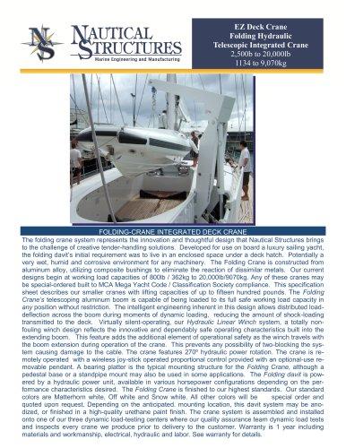 EZ Deck Crane Folding Hydraulic Telescopic Integrated Crane