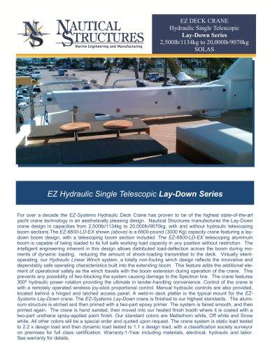 EZ DECK CRANE Hydraulic Single Telescopic Lay-Down Series