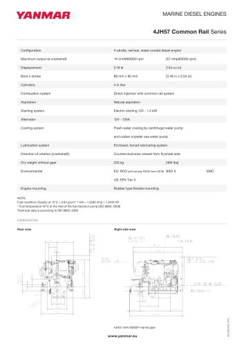 Specification datasheet - 4JH57 CR