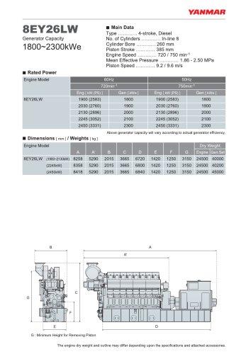 Specification datasheet - 8EY26LW