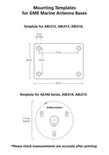 Mounting Templates for GME Marine Antenna Bases