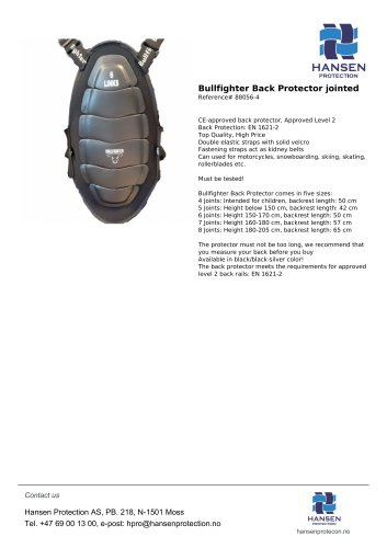 Bullfighter Back Protector jointed