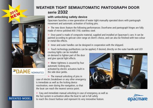 weather tight semiautomatic pantograph door serie 2332